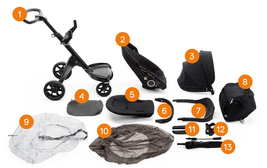 Stokke® Xplory® Black Chassis. Items included.