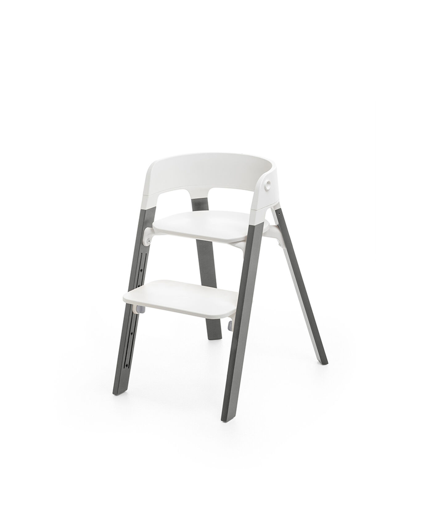 Stokke® Steps™ Chair White Seat Storm Grey Legs (stokke.com), Storm Grey, mainview view 1