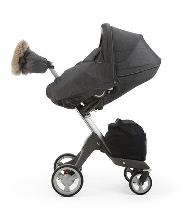 Stokke® Xplory® Seat with Winter Kit, Antracite Melange and Stokke® Xplory® Chassis, Black.