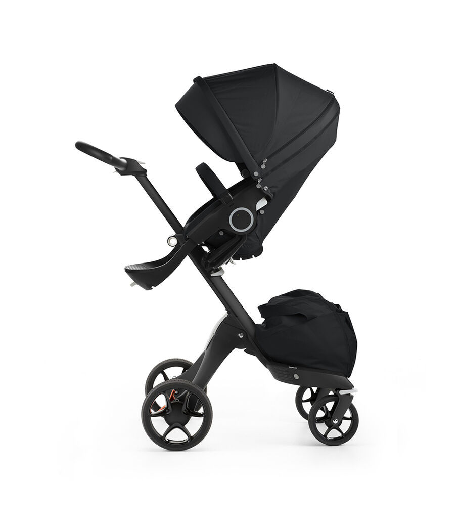 Stokke® Xplory® with Black chassis and Stokke® Stroller Seat, Black. New wheels 2016.