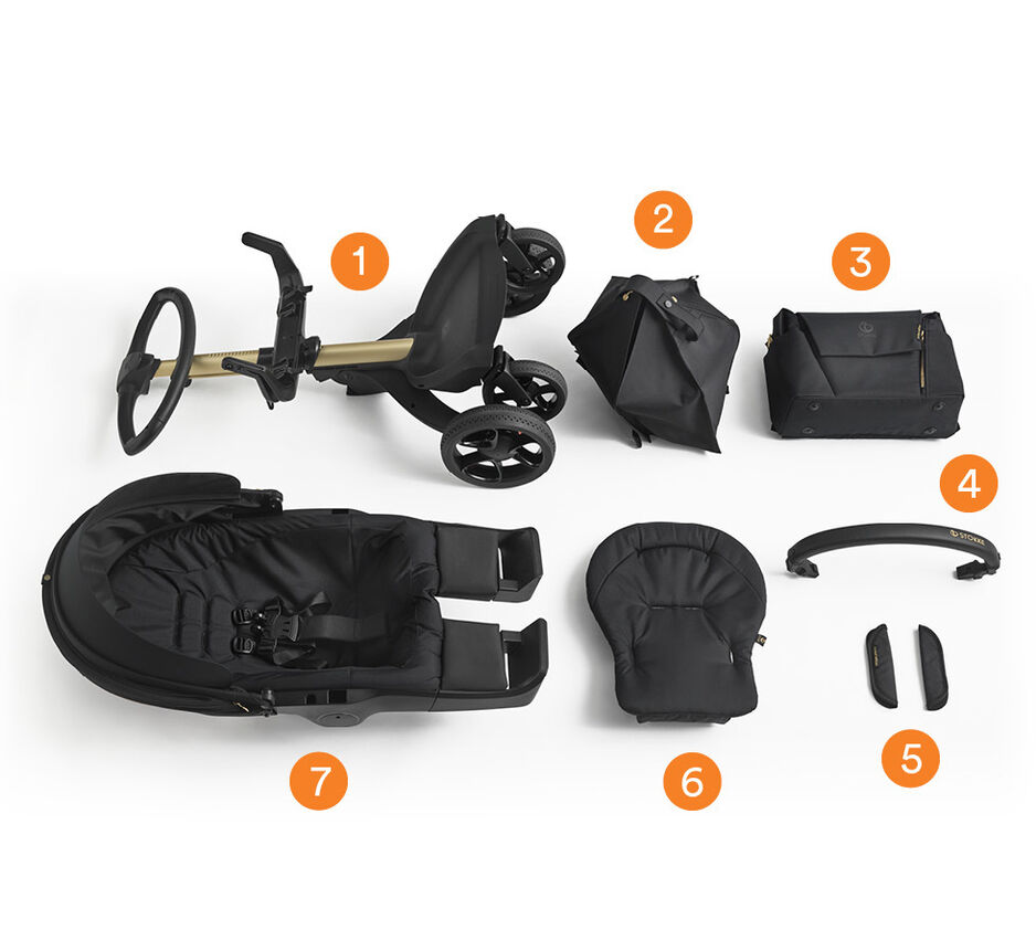 Stokke® Xplory® Gold Limited Edition. What's included overview.