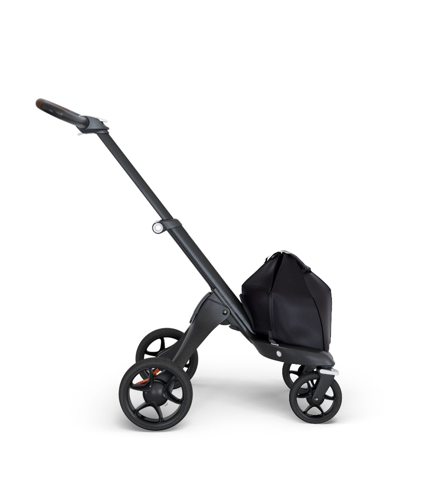 Stokke® Xplory® 6 Chassis Black - Brown Handle, Brown, mainview