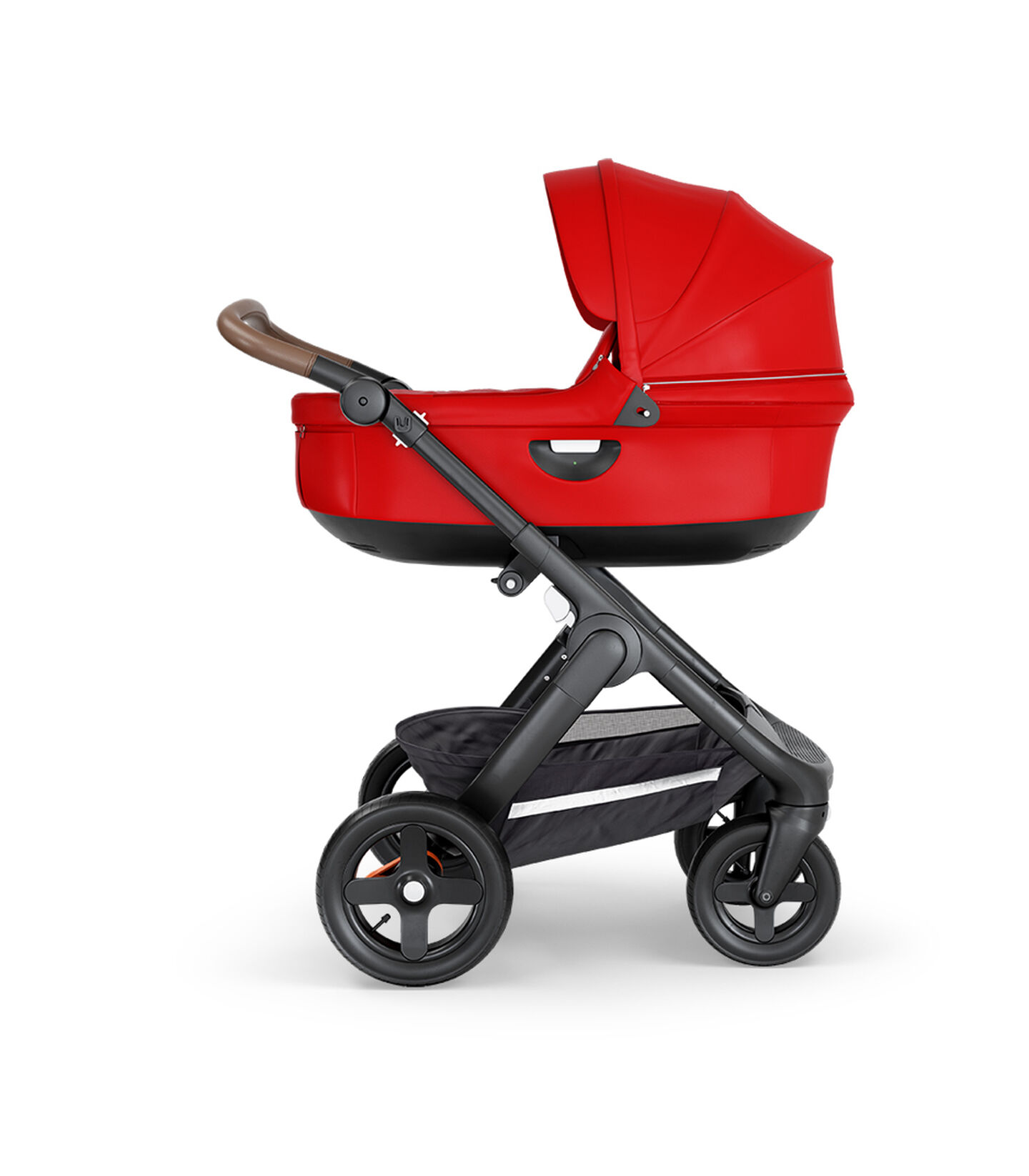 Stokke® Trailz™ with Black Chassis, Brown Leatherette and Terrain Wheels. Stokke® Stroller Carry Cot, Red.