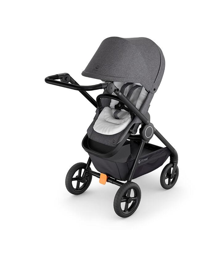 Stokke® Beat™ with Black Melange Seat and Stokke® Stroller Infant Insert White. view 1