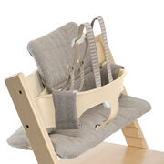 Tripp Trapp® Natural with Baby Set and Hazy Tweed cushion. US version. Detail.