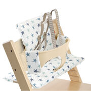 Tripp Trapp® Natural with Baby Set and Aqua Star cushion. US version. Detail.