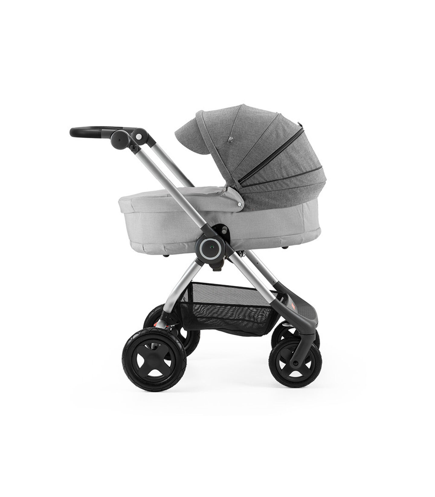 Stokke® Scoot™ with Carry Cot Grey Melange and Black Melange Canopy.