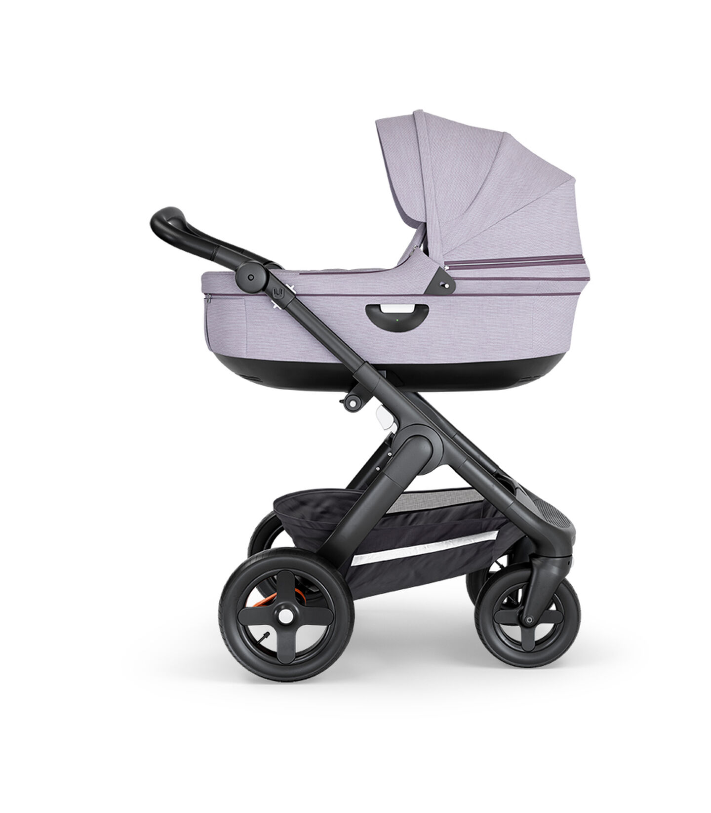 Stokke® Trailz™ with Black Chassis, Black Leatherette and Terrain Wheels. Stokke® Stroller Carry Cot, Brushed Lilac.
