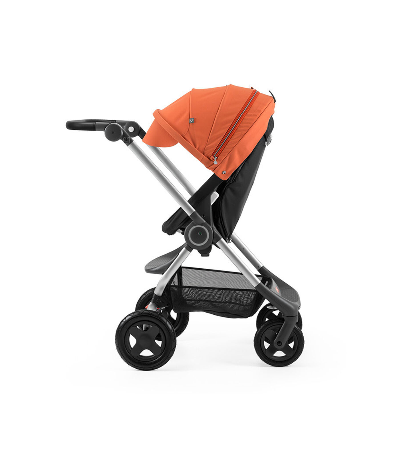 Stokke® Scoot™ Black with Orange Canopy. Parent facing, active position.