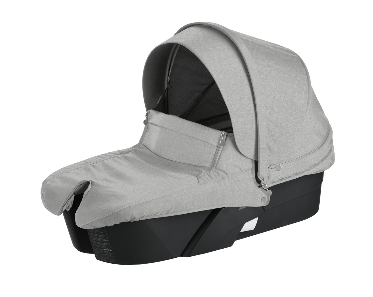 Stokke® Xplory® Carry Cot Black with Grey Melange Textile Set.