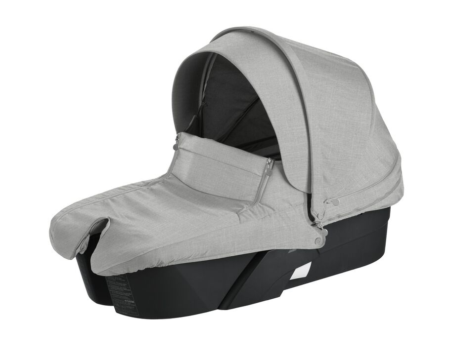 Stokke® Xplory® Carry Cot Black with Grey Melange Textile Set.
