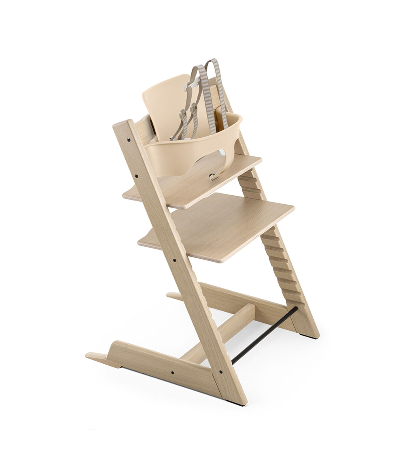 Tripp Trapp® Oak White with Baby Set Natural and Harness. Extended Glider, Natural. US version.