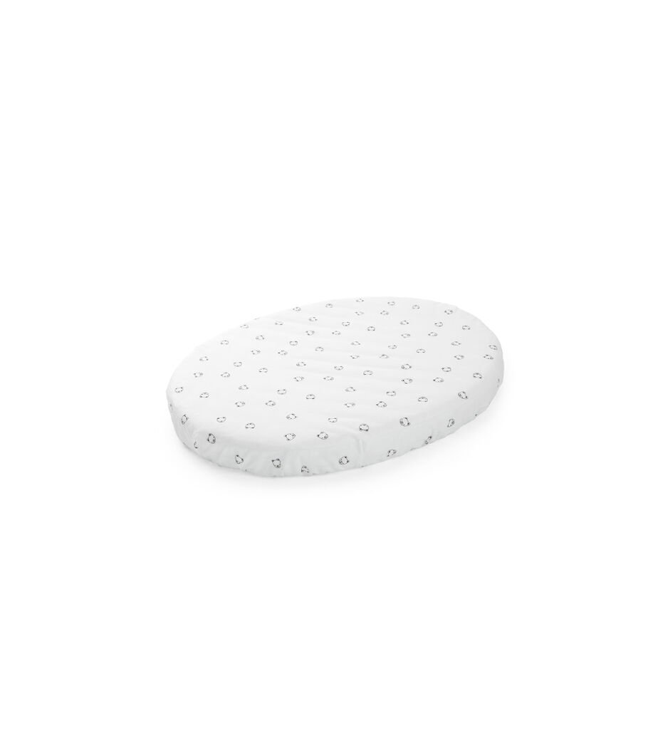 Stokke® Sleepi™ Mini Fitted Sheet. Monocrome Bear. Bottom side.