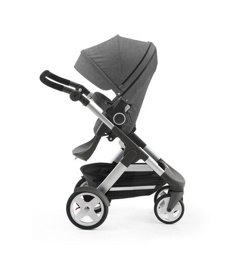 Stokke® Trailz with Stokke® Stroller Seat, parent facing, rest position. Black Melange. view 3