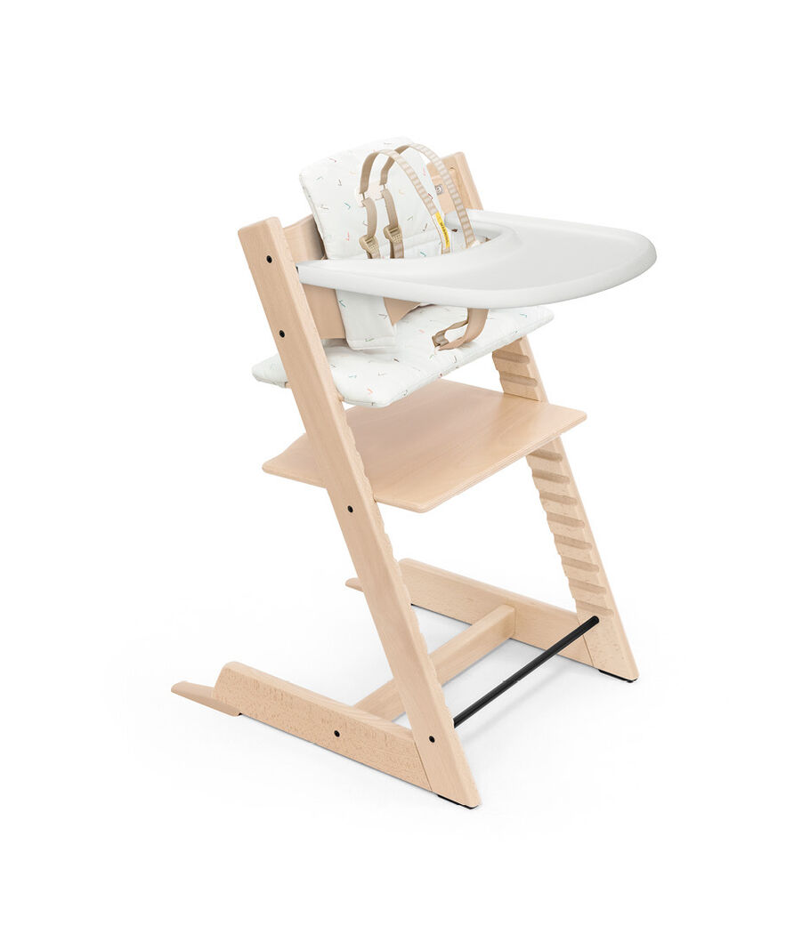 Tripp Trapp® High Chair Natural with Baby Set, Classic Cushion Icon Multicolour and Stokke® Tray. Bundle. US only.