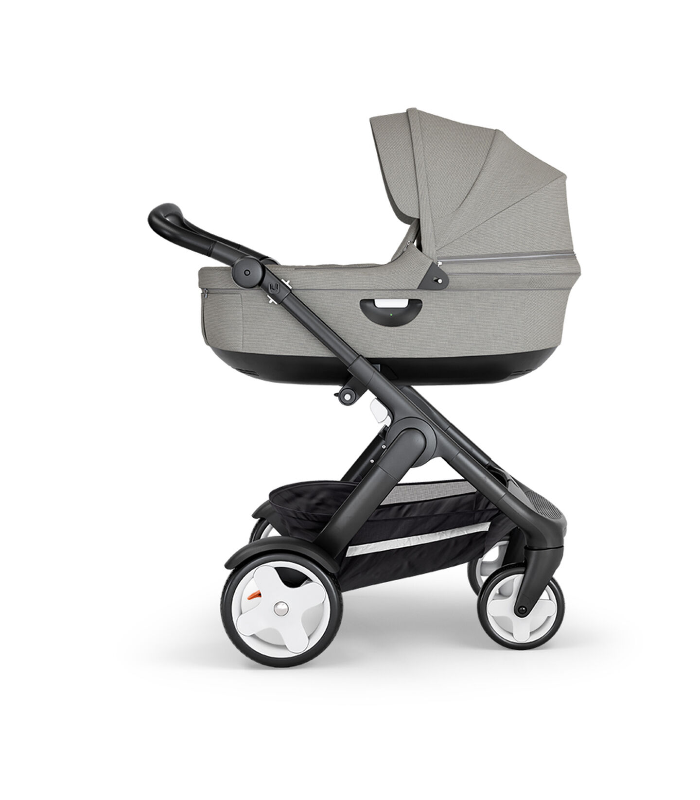 Stokke® Trailz™ with Black Chassis, Black Leatherette and Classic Wheels. Stokke® Stroller Carry Cot, Brushed Grey.