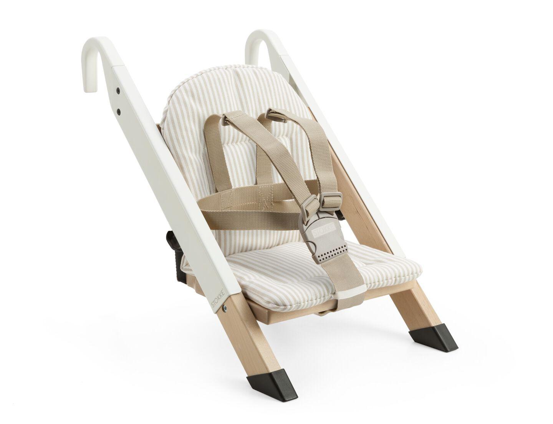 Portable child seat, White, accessorised with Beige Stripe cushion.