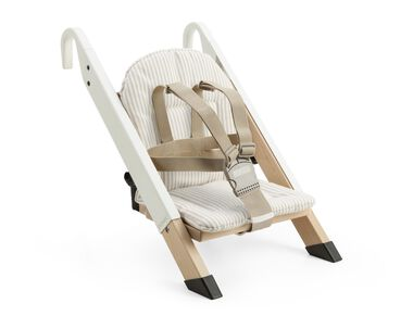Portable child seat, White, accessorised with Beige Stripe cushion.