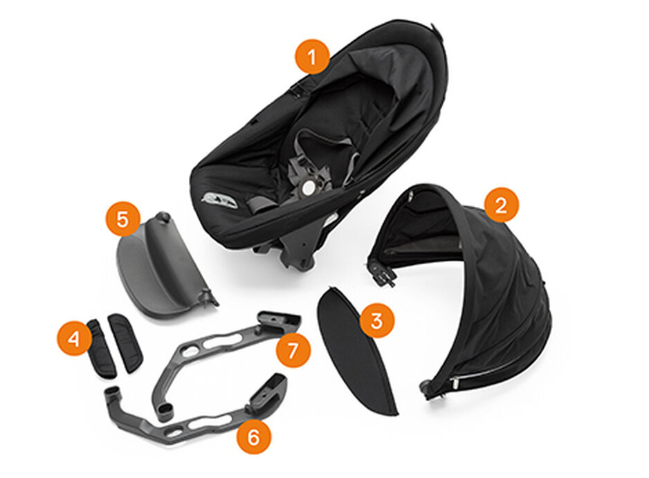 Stokke® Crusi™ Sibling Seat. Items included.