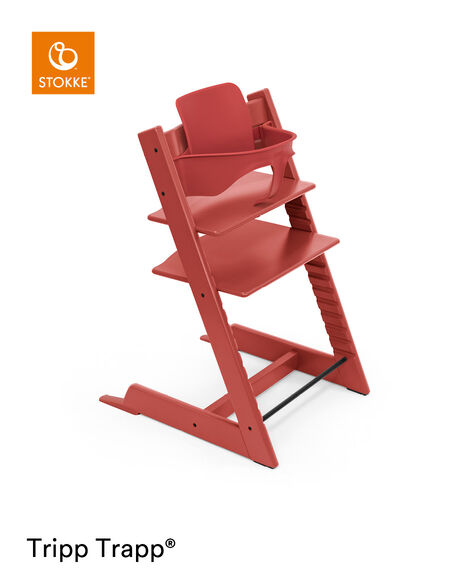 Tripp Trapp® chair Warm Red, Beech Wood, with Baby Set. view 9