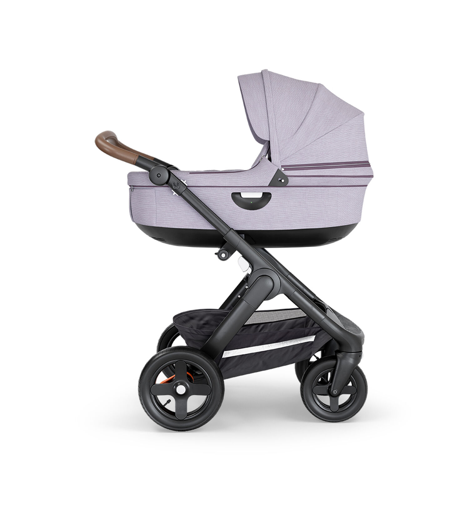 Stokke® Trailz™ with Black Chassis, Brown Leatherette and Terrain Wheels. Stokke® Stroller Carry Cot, Brush Lilac.