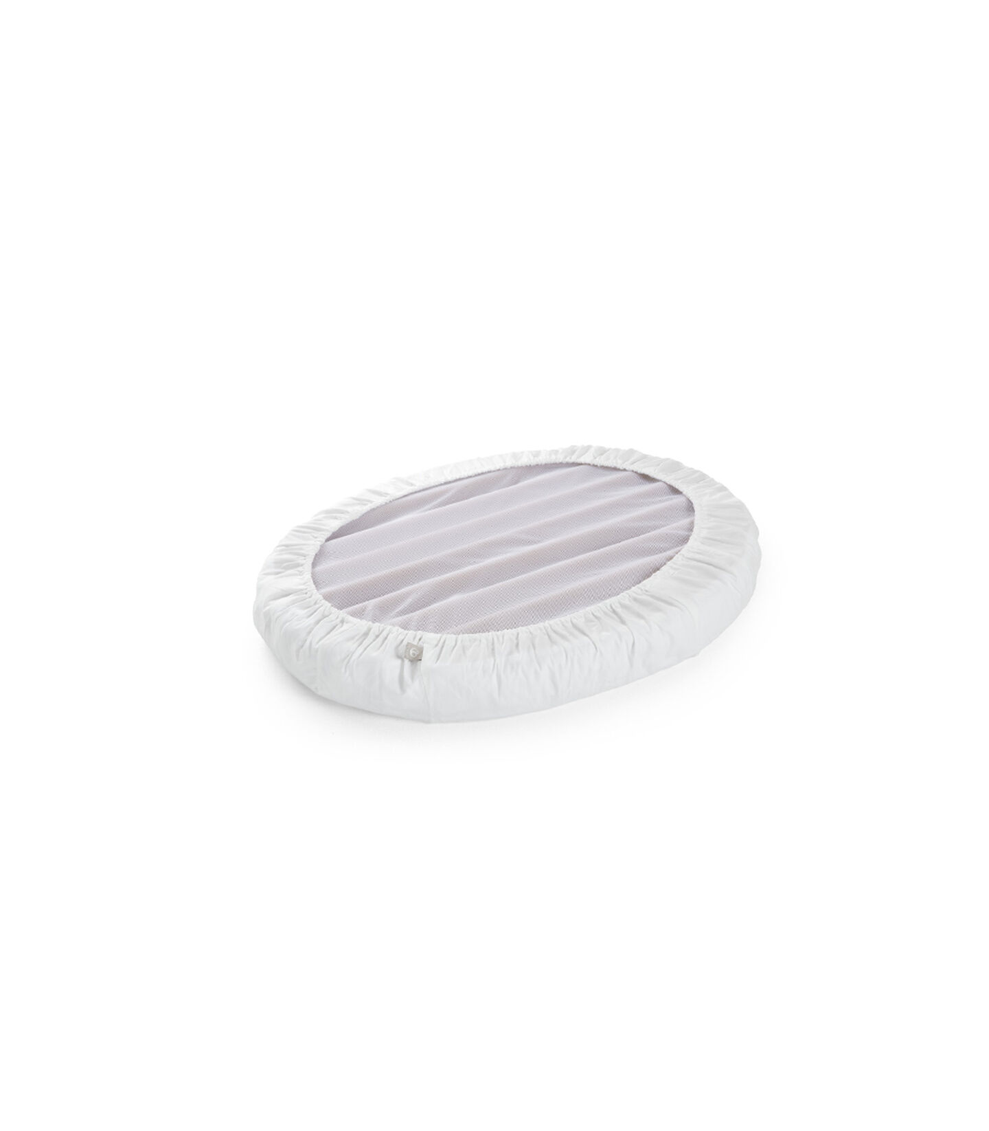 Stokke® Sleepi™ Mini Fitted Sheet. White. Bottom side.