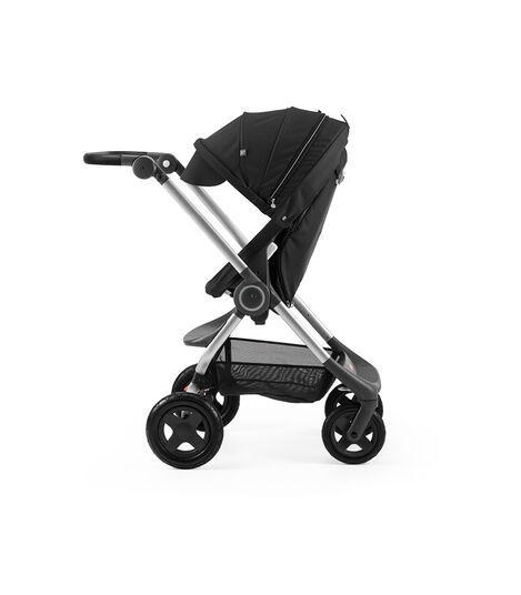 Stokke® Scoot™ Black with Black Canopy. Parent facing, active position.