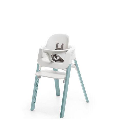 Stokke® Steps™ Chair White Seat Aqua Blue Legs, Aqua Blue, mainview view 2