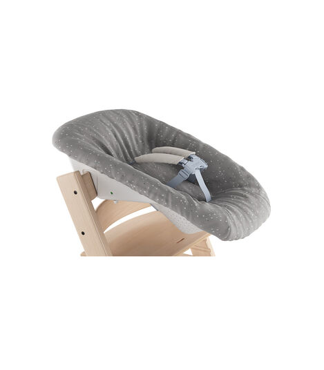Tripp Trapp® Natural and Tripp Trapp® Newborn Set with Sweet Hearts cover, reversible (grey). Close-up. view 2