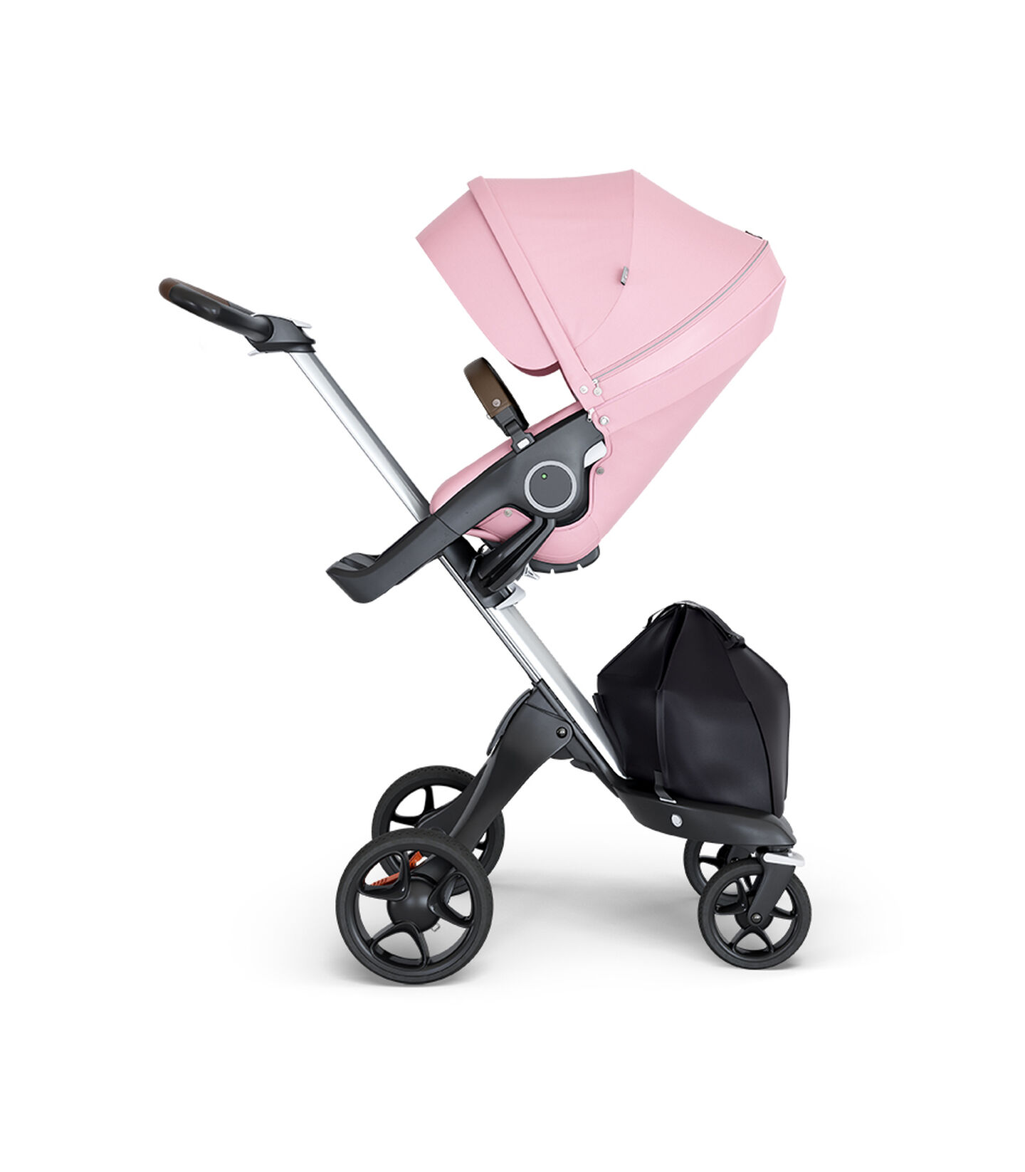 Stokke® Xplory® wtih Silver Chassis and Leatherette Brown handle. Stokke® Stroller Seat Lotus Pink. view 1