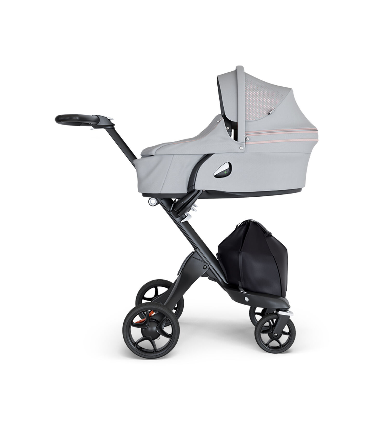 Stokke® Xplory® wtih Black Chassis and Leatherette Black handle. Stokke® Stroller Carry Cot Athleisure Pink.