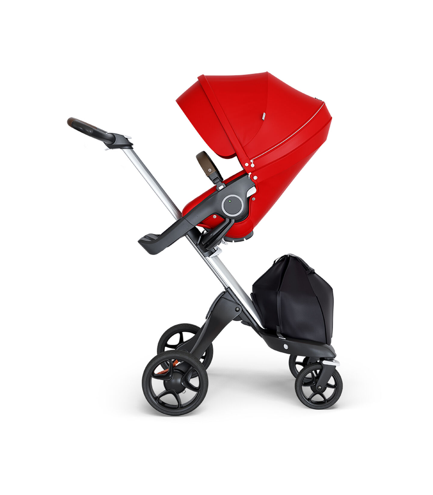 Stokke® Xplory® wtih Silver Chassis and Leatherette Brown handle. Stokke® Stroller Seat Red. view 1
