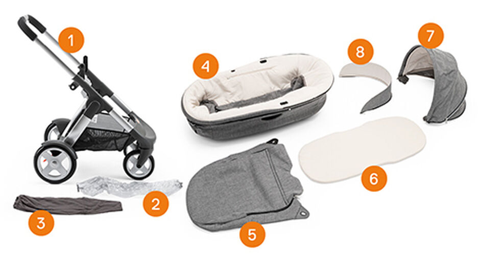 Stokke® Crusi™. Items included.