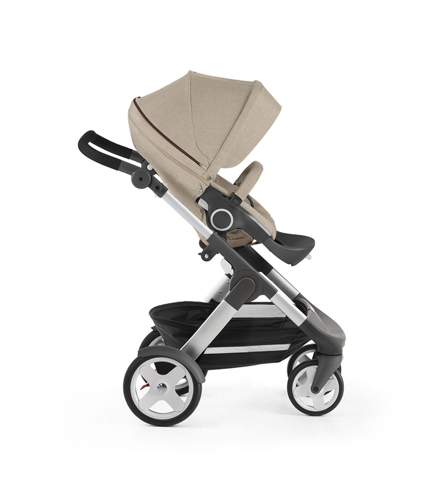 Stokke® Trailz with Stokke® Stroller Seat, forward facing, rest position. Beige Melange.