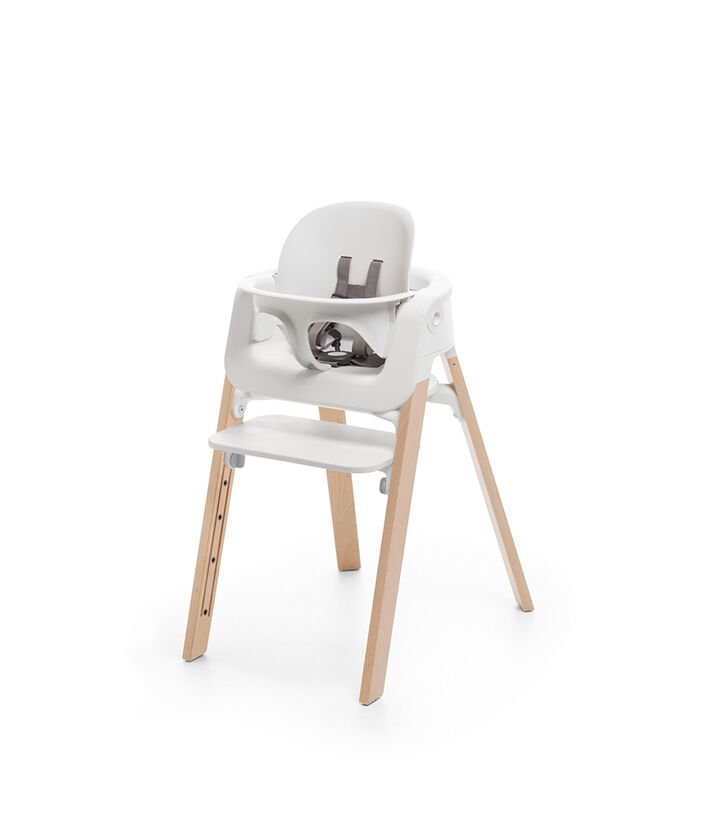 Stokke® Steps™ High Chair Natural Legs with White, White Seat BS-Natural Legs, mainview view 1