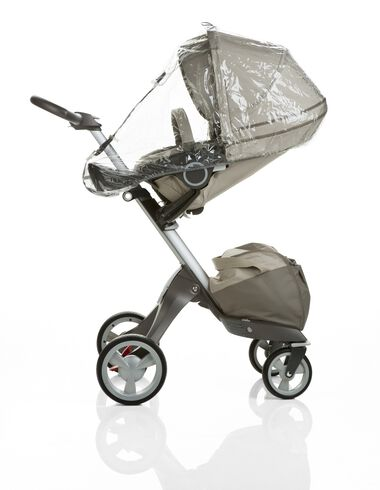 Stokke® Xplory® with Stokke® Stroller Seat, Beige. Raincover.