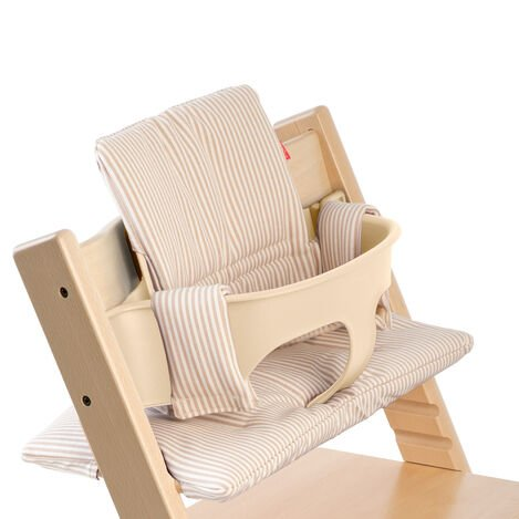 Tripp Trapp® Natural with Baby Set and Beige Stripe Cushion