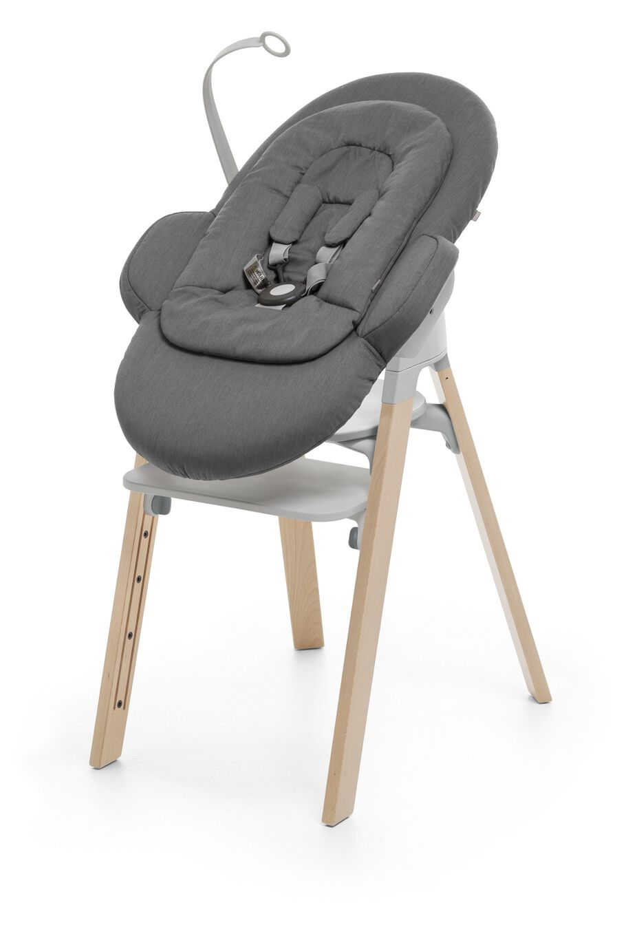 Stokke® Steps™ Natural with Light Grey plastic and Newborn Set in Deep Grey.
