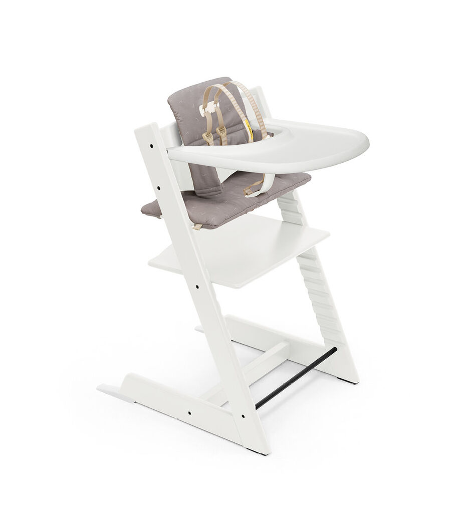 Tripp Trapp® High Chair White with Baby Set, Classic Cushion Icon Grey and Stokke® Tray. Bundle. US only.