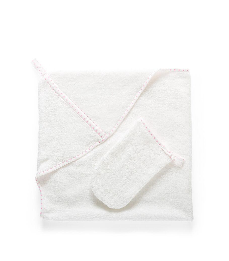 Stokke® Textiles. Hooded Towel, Pink Dots. Detail.