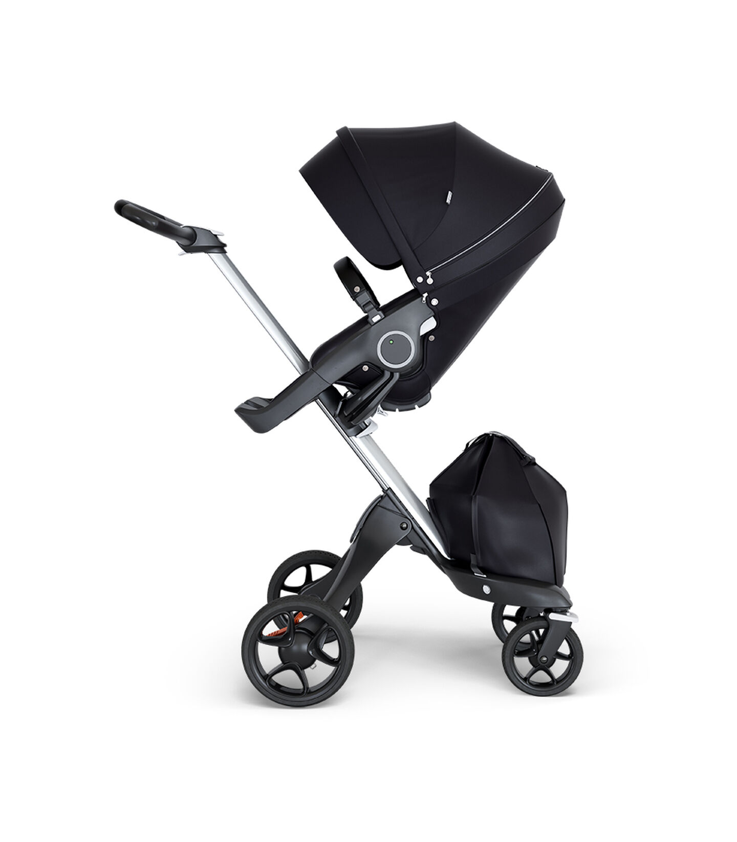 Stokke® Xplory® wtih Silver Chassis and Leatherette Black handle. Stokke® Stroller Seat Black. view 1