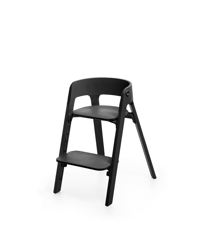 Stokke® Steps™ Chair, Black. Footrest low position. view 1