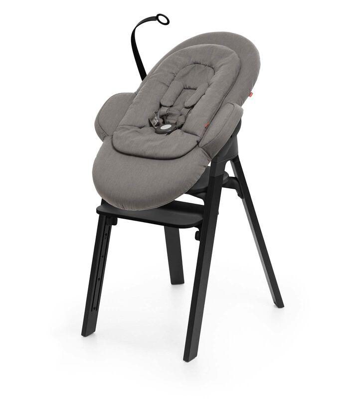 Stokke Steps Black Oak with Black Seat and Greige Newborn Set Black Friday 2018