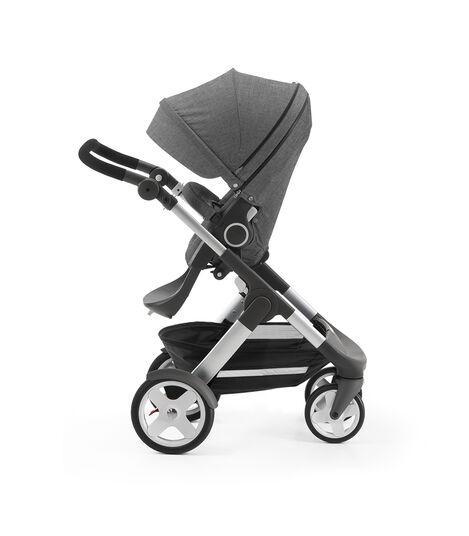 Stokke® Trailz with Stokke® Stroller Seat, parent facing, rest position. Black Melange.