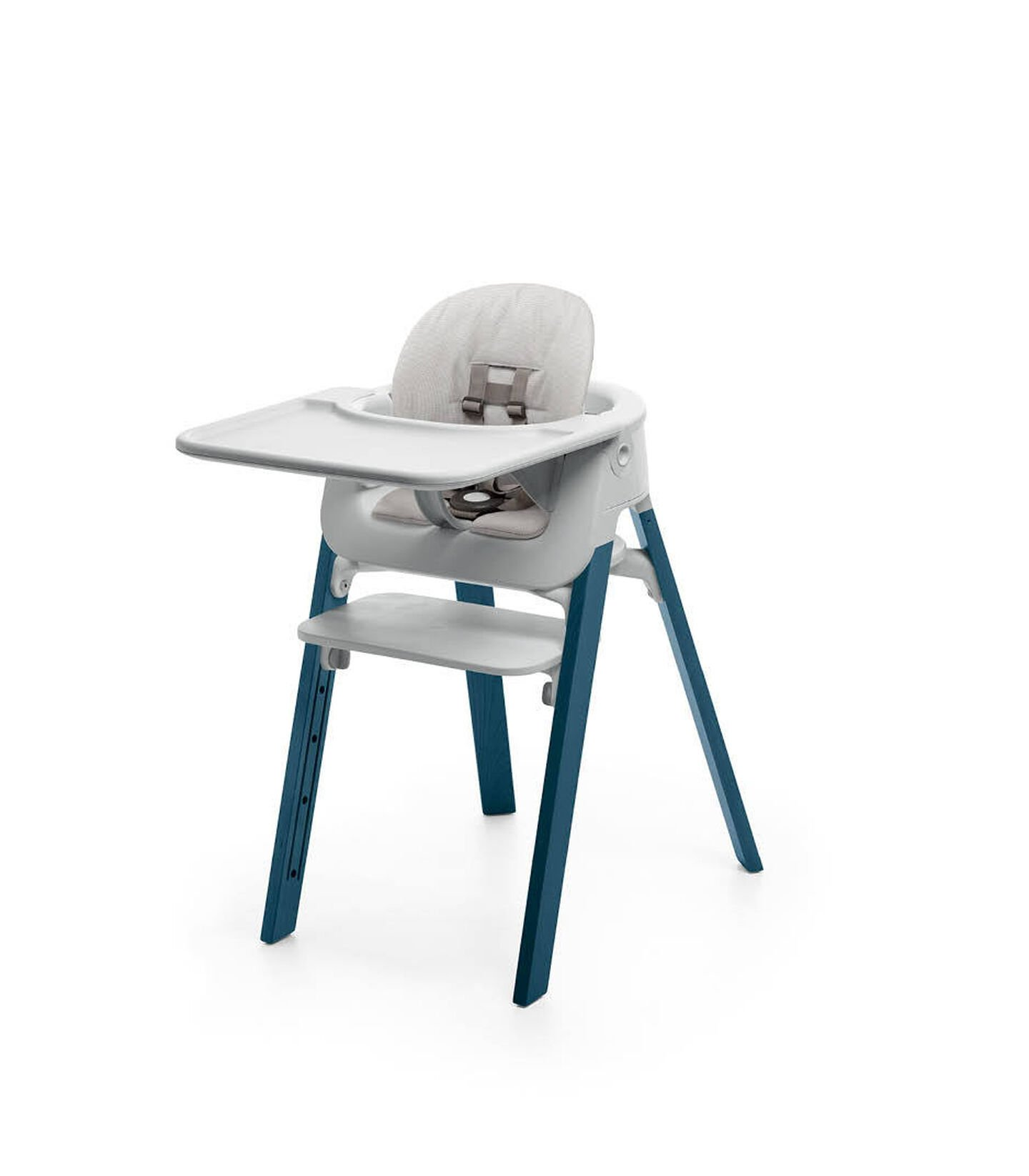 Stokke® Steps™ Midnight Blue with Accessories. Baby Set Light Grey. Baby Set Cushion Timeless Grey. Baby Set Tray Light Grey.