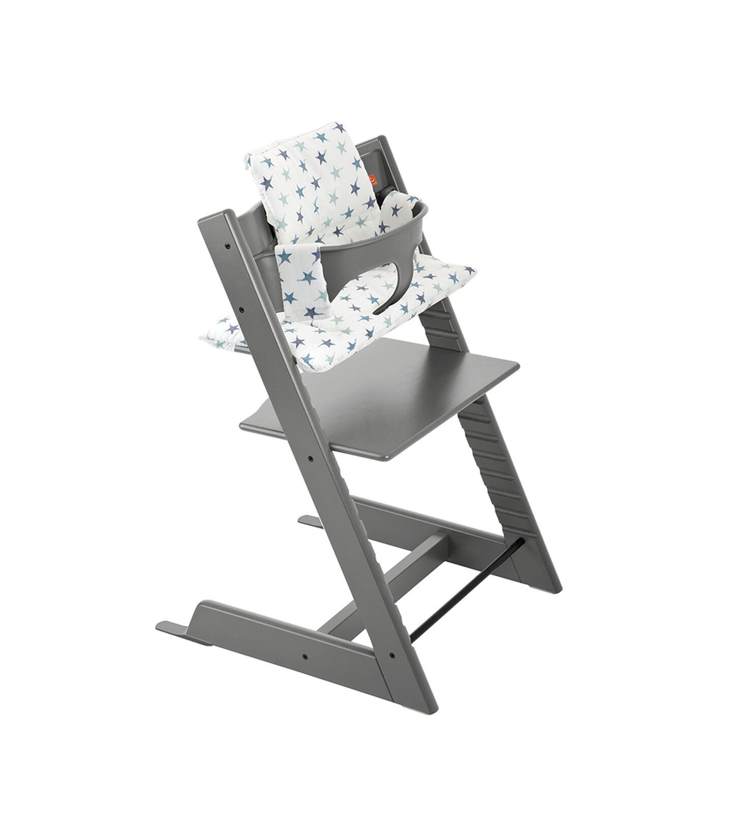 Tripp Trapp® Storm Grey with Baby Set and Grey Loom cushion