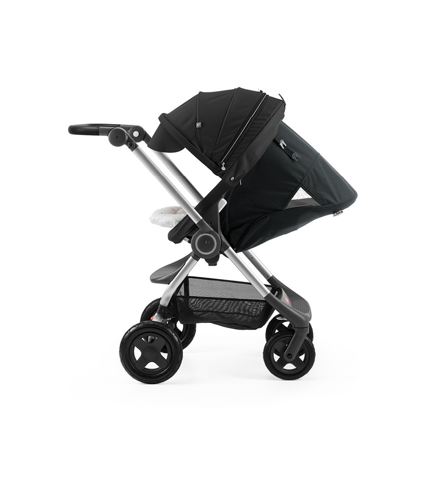 Stokke® Scoot™ with Black seat and Red. Parent Facing. Sleep position.