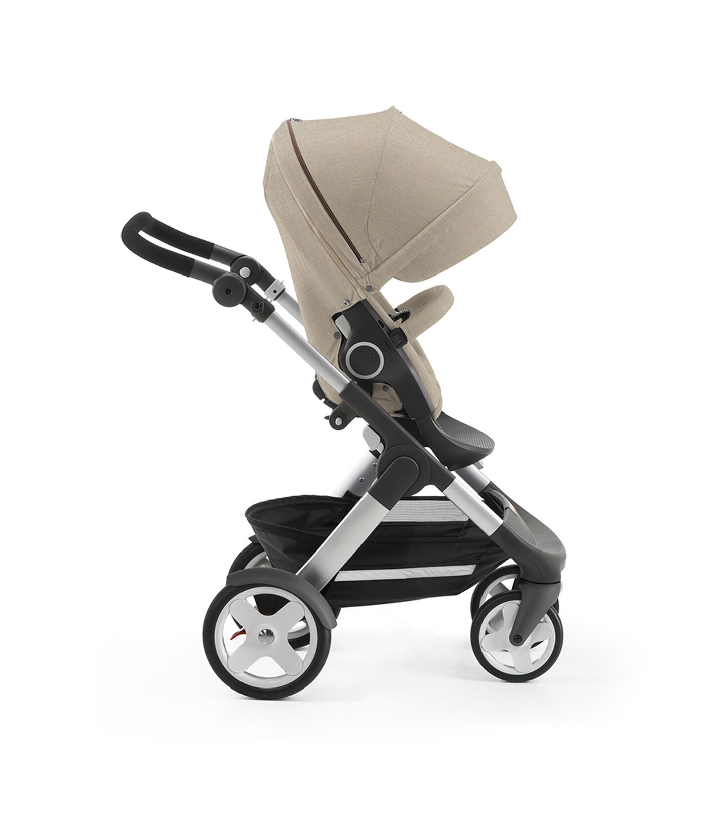 Stokke® Trailz with Stokke® Stroller Seat, forward facing, active position. Beige Melange.