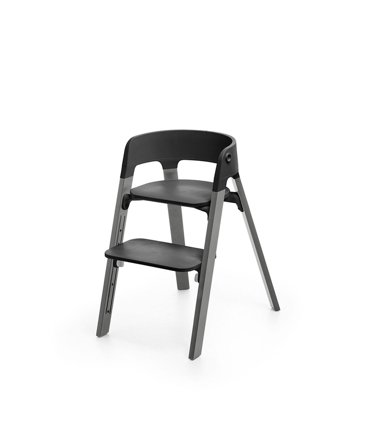 Stokke® Steps™ Chair Black Seat Storm Grey Legs (stokke.com), Storm Grey, mainview view 1