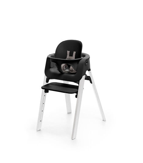 Stokke® Steps™ Oak White chair with Baby Set Black.